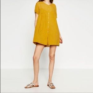 Zara Traffaluc Collection Button Up Romper Large